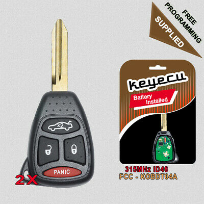PAIR REMOTE KEY Fob Replacement for Chrysler Jeep Dodge KOBDT04A &  OHT692427AA