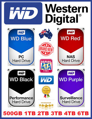 "Wd Blue Red Black Purple 1Tb 2Tb 3Tb 4Tb 6Tb Hard Drive 3.5"" Brand New Sealed"