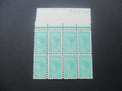 Victoria Stamps:  1/2d Green Block of 8 P12 x 12.5 Watermark Down  MNH  (x62)