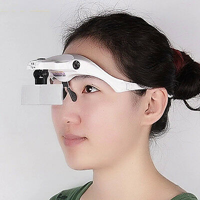 5 Lens Adjustable Loupe Headband Magnifying Glass Magnifier With LED For Eyelash