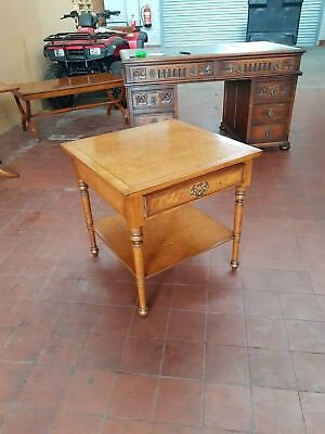 Antique/reproduction Walnut Lamp/coffee/lounge/telephone Table With Drawer