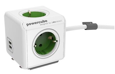 Mehrfachsteckdose allocacoc PowerCube Extended USB inkl. 1,5 m Kabel grün Type F