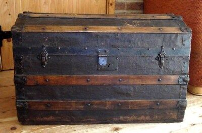 Early 20th Cent VINTAGE SEA CHEST ~ OLD TRAVEL TRUNK ~ PIRATES CHEST ~ Domed Lid