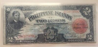 1929 American Philippines 2 two peso note