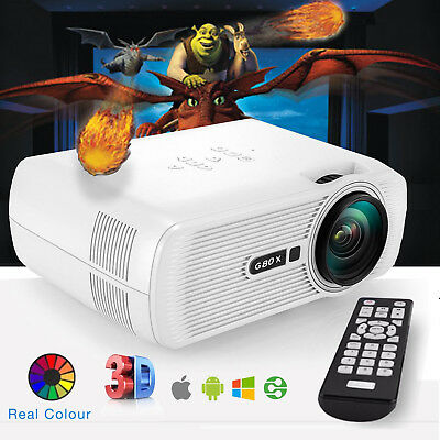 Led Mini Projector 1080p Full HD 3D Android 4K Home Cinema HDMI USB SD VGA Media