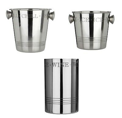 Bombay Wine Coolers Stainless Steel Ice Buckets Dining Bar Home Kitchen Party