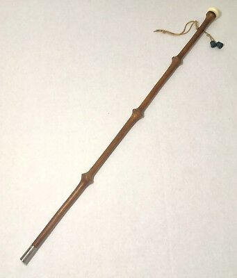 28 inch knotted bamboo wood Antique walking cane / defense stick Bone Pommel