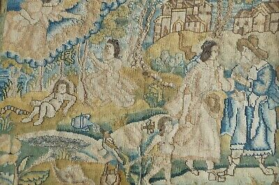 17th Century Needlework Picture The Life Of Abraham, English C 1660 Stumpwork