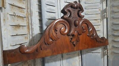 "Hand Carved Wood Pediment 31"" Antique French Coat Of Arms Architectural Salvage"