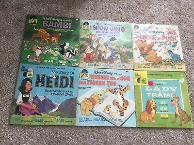 Lot 6 Disney 33 1/3 Record and Book Read Along Story Set Nice