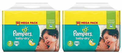 200 Couches Pampers baby-dry Taille 3 de 5 à 9 kg 2 x Mega Pack 100 couches