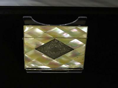 Antique Victorian Mother-Of-Pearl & Silver Card Case, Floral Panel, 19th Century