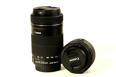 Lot of two Canon EF lenses: 50 and 55-250mm