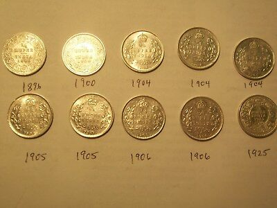 1896-1925 British India 1/4 Silver Rupees Lot of 10 Coins All Choice AU/Bord Unc