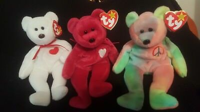 Rare VALENTINO 1993 TY Beanie Baby with Valentina both have date errors    Peace 5fb0f7939a6
