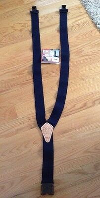 """NEW Perry Suspenders 2"""" Navy Leather Suspenders Style 50872 Made in USA"""