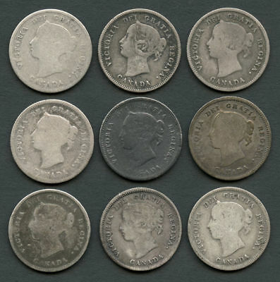 Lot of 9 Mixed Date Canada 5C/Half Dime Silvers