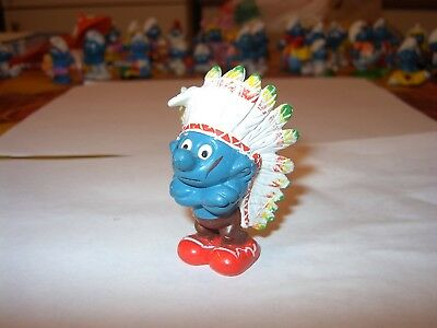 "Puffo Smurfs    "" Capo Indiano ""  Made In W.germany 1981     Peyo    Ottimo"