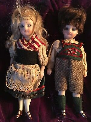 """Superb Pair Of Antique French All Bisque Dolls, 6"""""""