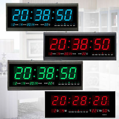 Large Digital LED Jumbo Wall Clock Alarm Caldendar Temp Time Home/Office UK Plug