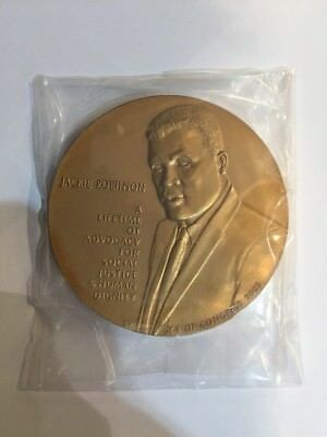 """2003 Jackie Robinson 3"""" Bronze Medal With Box And Stand"""