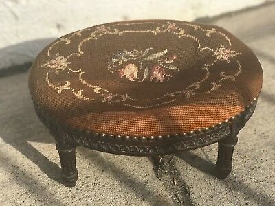 Antique French Country Walnut Needlepoint Floral Roses Foot Stool Bench Ottoman