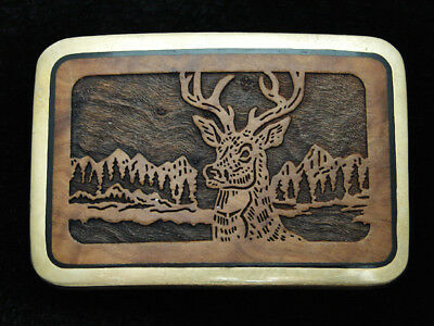 QH13112 VINTAGE 1970s **DEER IN FOREST** INLAID WOOD SOLID BRASS TRINITY BUCKLE