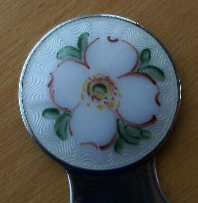 Antique Sterling Bookmark With Floral Enamel Guilloche