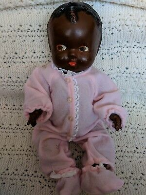 Antique African American Black Americana Composition Jointed  Baby Doll 12""
