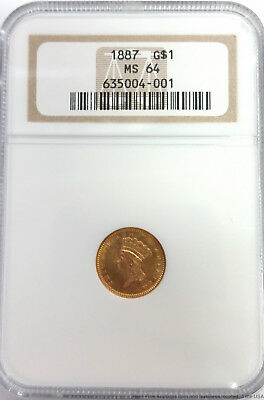 NGC 1887 G$1 MS 64 Indian Head Gold One Dollar Coin US Liberty