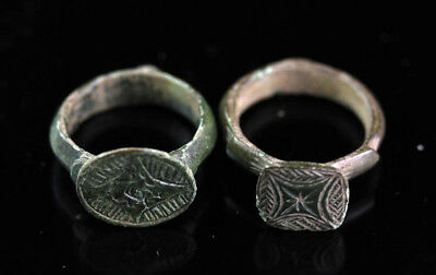 *SC* NICE LOT OF TWO LARGE ANCIENT BRONZE RINGS, ca. 700-1000 AD!