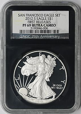 2012-S First Releases Silver Eagle $1 PF 69 Ultra Cameo $1 NGC Retro 25th Aniv