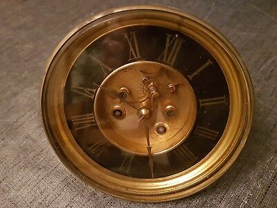 Antique Vincenti Clock Movement Bezel Face And Glass Post 1855 Visible Escape