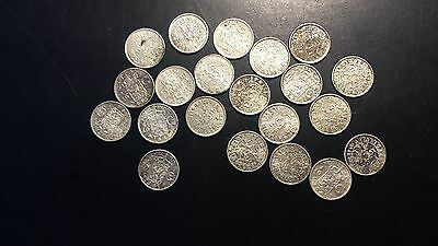 Netherlands East Indies 1941 1/10 Gulden .720 Silver KM#318 (Lot of 21)