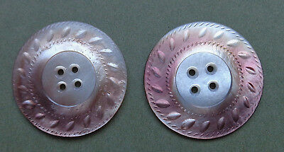 """LOT OF 2 CARVED SMOKEY PEARL ANTIQUE BUTTONS  1 and 5/16"""""""