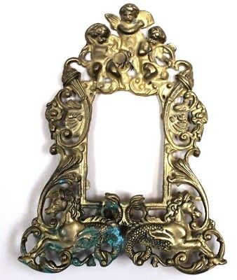 Antique Cast Brass Cherub Sea Horse Standing Picture Frame cupid vintage