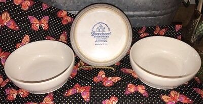 Vintage FRANCISCAN White Lot of 3 CEREAL / SOUP Stoneware Bowls Ringed Base USA