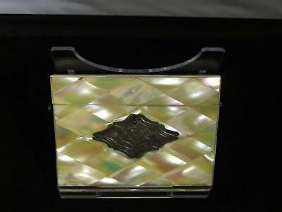 Antique Victorian Mother-Of-Pearl & Silver Card Case, Monogrammed, 19th Century