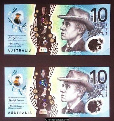 $10 Lowe/Fraser First and Last Prefix Consec Run of 5 Each, Unc