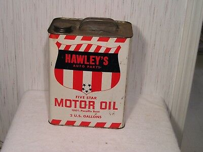 Vintage Top Oil Co. Hawley's Auto Parts five star Motor oil can 2 gal