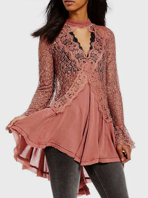Free People OB556692 Tell Tale Cutout Lace Long Sleeve Tunic Dress Rosy Coral XS