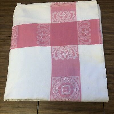 """Vintage tablecloth 60""""x64"""" heavy cotton pink white floral stripe border Easter"""