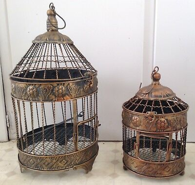 2 Decorative Metal Hanging Bird Cages Floral Display or other Wholesale Lot NEW