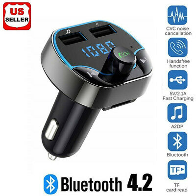 Bluetooth 4.2 FM Transmitter Wireless MP3 TF Radio Adapter USB Charger Car Kit 2