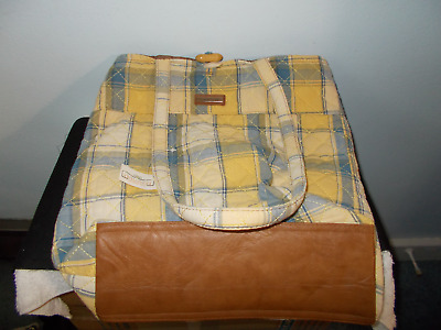 *NWT* Longaberger Wood Button Tote Comflower Plaid