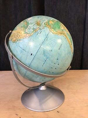 "Vintage Mid Century A.J. Nystrom 16"" Pictorial Relief World Globe"