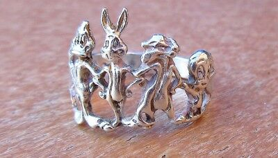 Sterling Silver 925 LOONEY TUNES Ring; Carved Images Daffy Duck. Bugs Bunny, etc