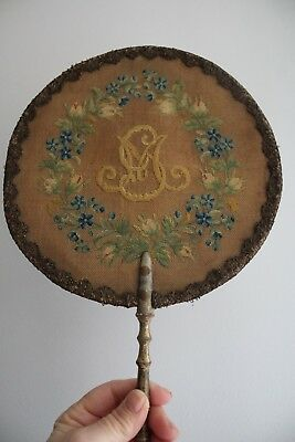 Rare Antique Victorian Floral Embroidered Hand Fan-Wooden Handle-Face Screen