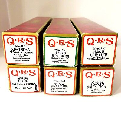 Vintage 80s QRS Player Piano Rolls Lot of Six Word Rolls