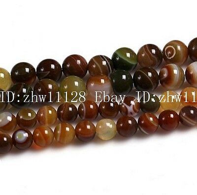 Natural 6mm8mm10mm Red Striped Agate Gemstone Round Loose Bead15'' AAA